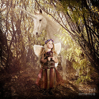 Fairy And Unicorn Art Print by Cindy Singleton