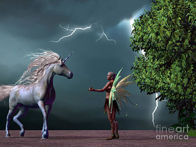 Fairy And Unicorn Art Print by Corey Ford