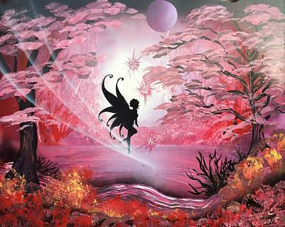Spraypaint Painting - Fairy Cherry Blossom  by Trent Curnow