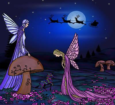 Flower Pink Fairy Child Digital Art - Fairy Christmas by Barbara St Jean