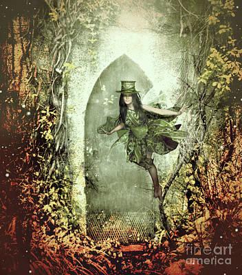 Little Girls Mixed Media - Fairy Cottage by KaFra Art