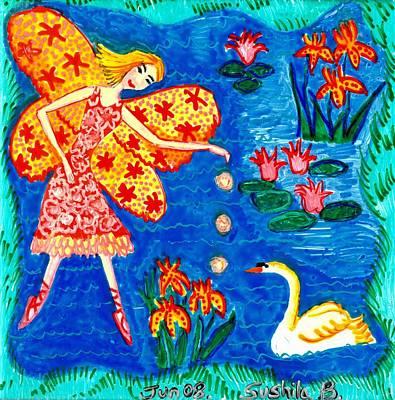 Fairy Feeding Swan Print by Sushila Burgess