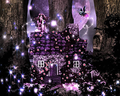 Digital Art - Fairy Forest Firefly Lane by Artful Oasis