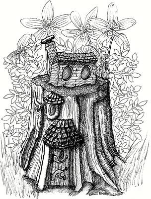 Fairy House Drawing - Fairy House Stump With Penthouse by Dawn Boyer