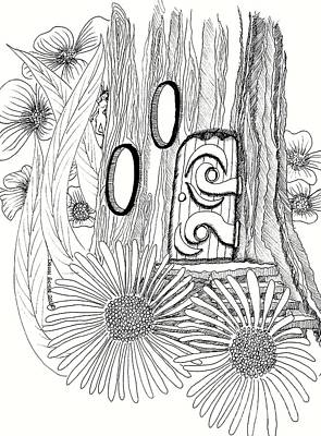 Fairy House Drawing - Fairy House Stump With Zinnias by Dawn Boyer