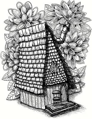 Fairy House Drawing - Fairy House With Chair In Porch And Calendula by Dawn Boyer