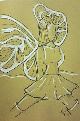 Drawing - Fairy by Loretta Nash