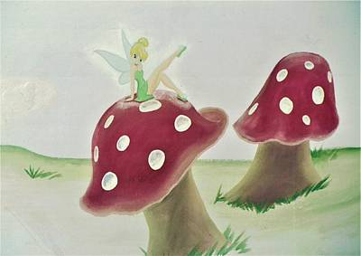 Painting - Fairy On Mushroom Trees by Suzn Art Memorial