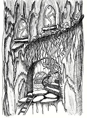 Fairy House Drawing - Fairy On Stairs Tree Fairy Home by Dawn Boyer