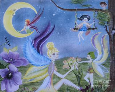 Painting - Fairy Play by RJ McNall
