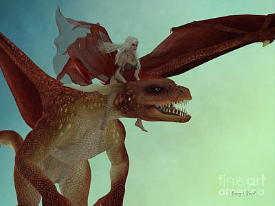Fairy Rides Dragon Art Print by Corey Ford