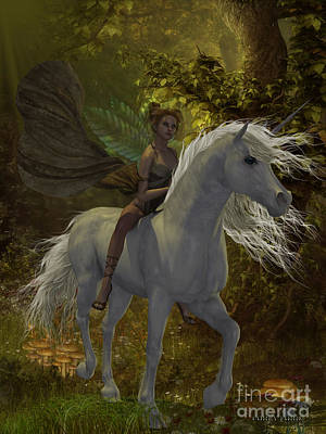 Fairy Rides Unicorn Art Print by Corey Ford