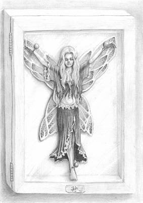 James Parker Drawing - Fairy Shadowbox by James Parker