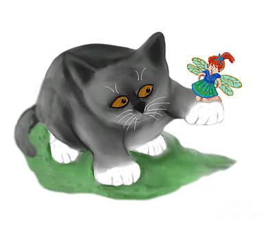 Digital Art - Fairy Sits On Cat Paw by Ellen Miffitt