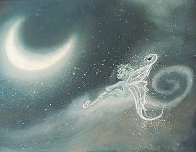 Painting - Fairy Sitting Watching Moon by Suzn Art Memorial