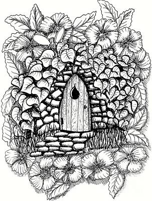 Fairy House Drawing - Fairy Stone House With Flowers by Dawn Boyer