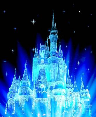 Fantasy Digital Art - Fairy Tale Castle Bright Blue by Johari Smith