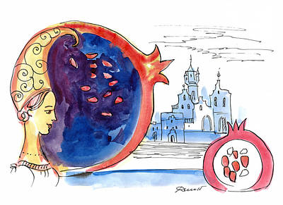 Reverie Drawing - Fairy Tale Of Pomegranate Night by Dina-Art
