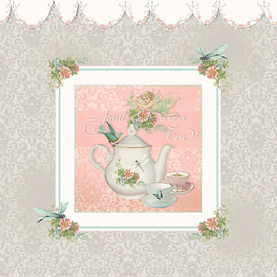 Flower Pink Fairy Child Painting - Fairy Teacups - Tea Party For Two by Audrey Jeanne Roberts