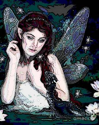 Digital Art - Fairy With Dragon by Valarie Pacheco