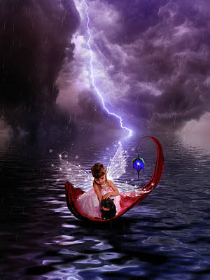 Digital Art - Fairy With Her Kitty Caught In The Rain by Lilia D