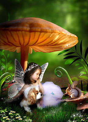 Toadstool Digital Art - Fairy Woodland by Julie L Hoddinott