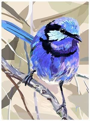 Wren Digital Art - Fairy Wren by Plum Ovelgonne