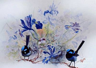 Painting - Fairy Wrens In A Cottage Garden by Ryn Shell