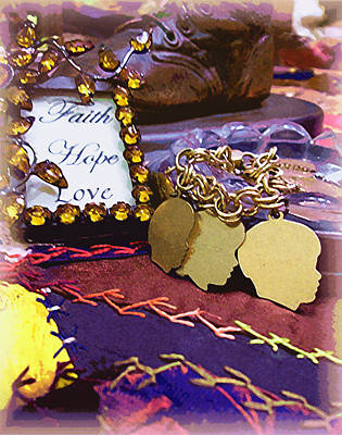 Crazy Quilt Photograph - Faith Hope Love 4 by Kate Browning Word