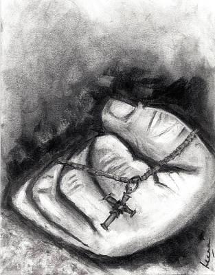 Faith Hope And Love Drawing - Faith by Leena Kewlani