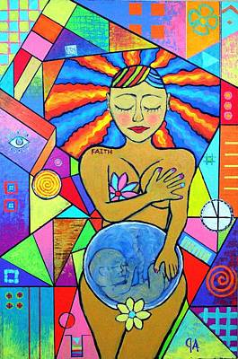 Painting - Faith, She Carries The World On Her Hips by Jeremy Aiyadurai
