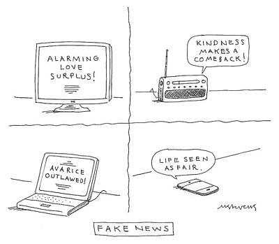 Computer Drawing - Fake News by Mick Stevens