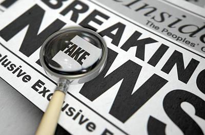 Fake News Newspaper Art Print by Allan Swart