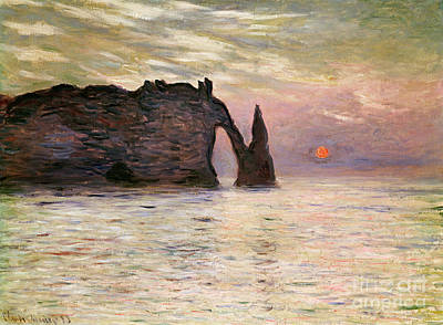 Reflecting Sunset Painting - Falaise Detretat by Claude Monet