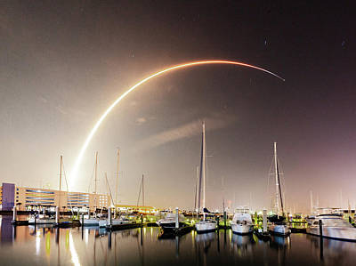 Photograph - Falcon 9 Over Port Canaveral Marina by Gordon Elwell