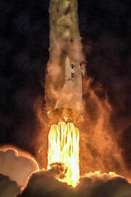 Photograph - Falcon 9 Rocket Launch Amazing Fuel Power by Photo SpaceX Edit M Hauser