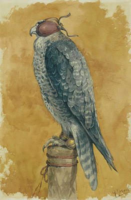 Hunting Bird Painting - Falcon by Alexander Sergeevich Khrenov