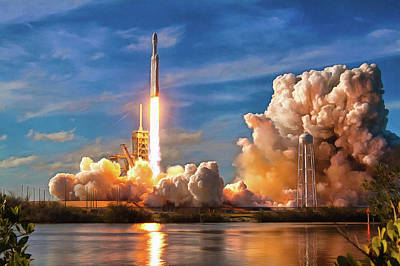 Photograph - Falcon Heavy Rocket Launch Spacex by SpaceX