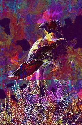 Digital Art - Falcon Move Bird Grey Africa  by PixBreak Art