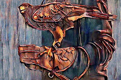 Mixed Media - Falconer And His Bird Of Prey by Susan Maxwell Schmidt