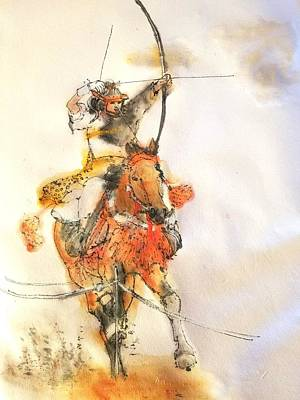 Painting - Falconry Jousting And Archery On Horse Album by Debbi Saccomanno Chan