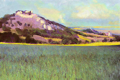Painting - Falkenstein Landscape In Lower Austria Weinviertel by Menega Sabidussi