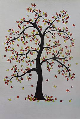 Autumn Scene Drawing - Fall 2 by Patricia Alexander