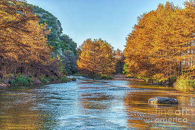 Fall Scene Photograph - Fall Along The Frio River by Tod and Cynthia Grubbs