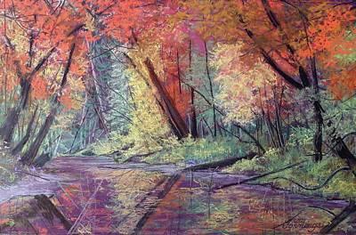 Pastel - Fall Along The River by Gary Edward Jennings