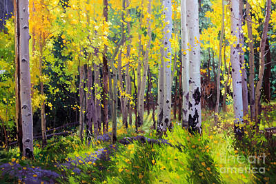 Leaves Painting - Fall Aspen Forest by Gary Kim