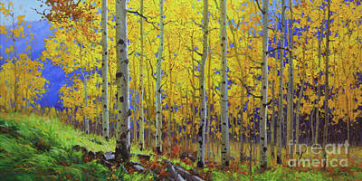 Contemporary Forest Painting - Fall Aspen Hill  by Gary Kim