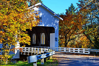 Photograph - Fall At Dorena Covered Bridge by Ansel Price