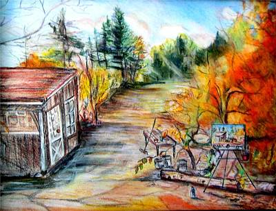 Shed Mixed Media - Fall At Fairfield Farm by Sherri Trout