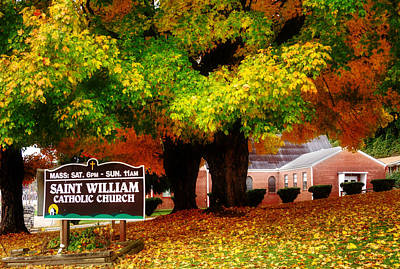 Orange Photograph - Fall At Saint William Catholic Church In Murphy Nc by Greg Mimbs